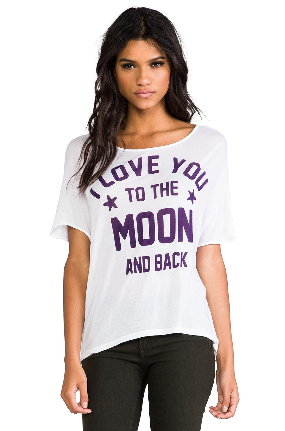 291 To The Moon Oversized Hi Low Tee in White