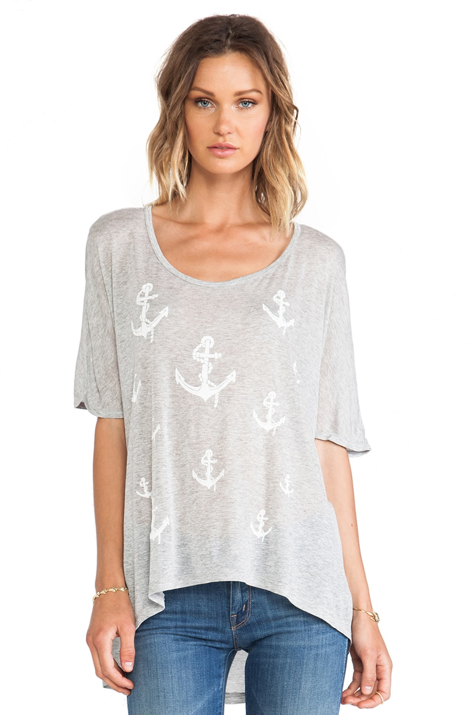 291 Anchors Oversized Tunic in Heather Grey