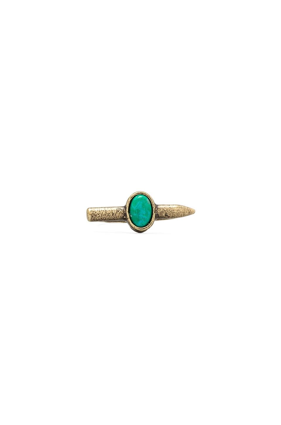 2 Bandits Bandit Bullet Ring in Gold/Turquoise