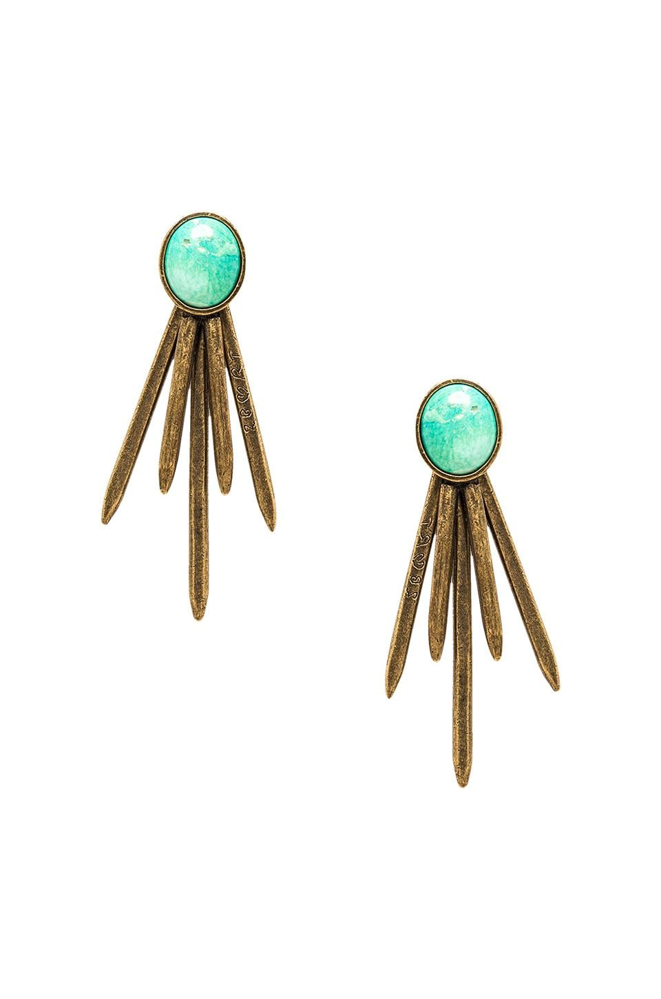 2 Bandits Pick Up Sticks Earrings in Gold & Turquoise