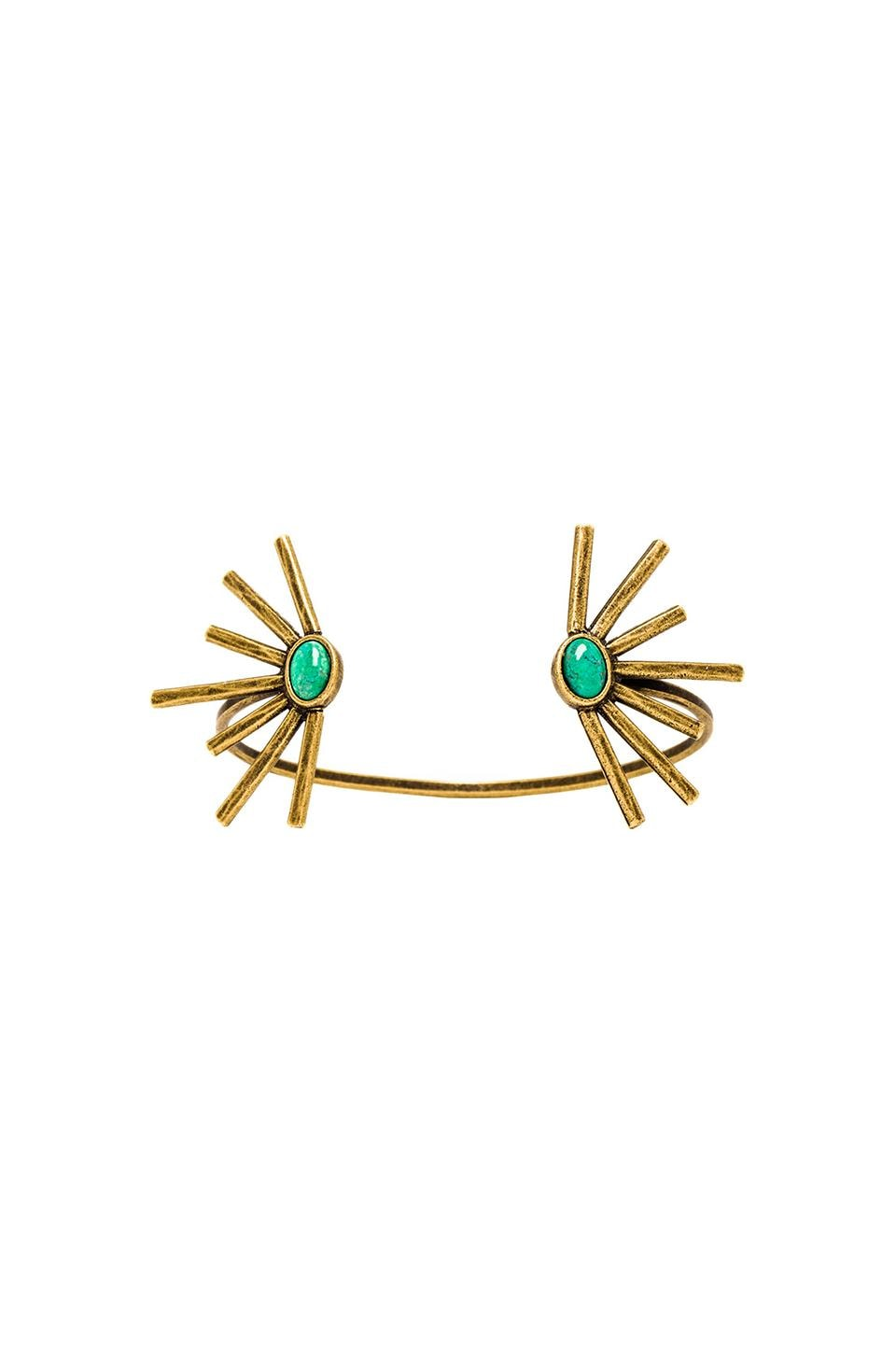 2 Bandits Open Sunshine Daydream Cuff in Turquoise & Gold