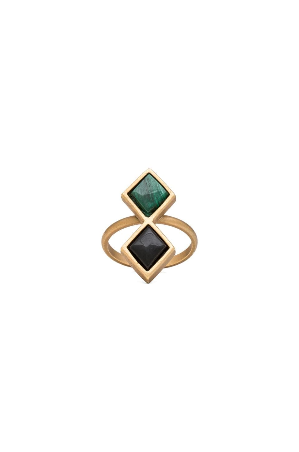 2 Bandits Green Night Ring in Gold & Malachite