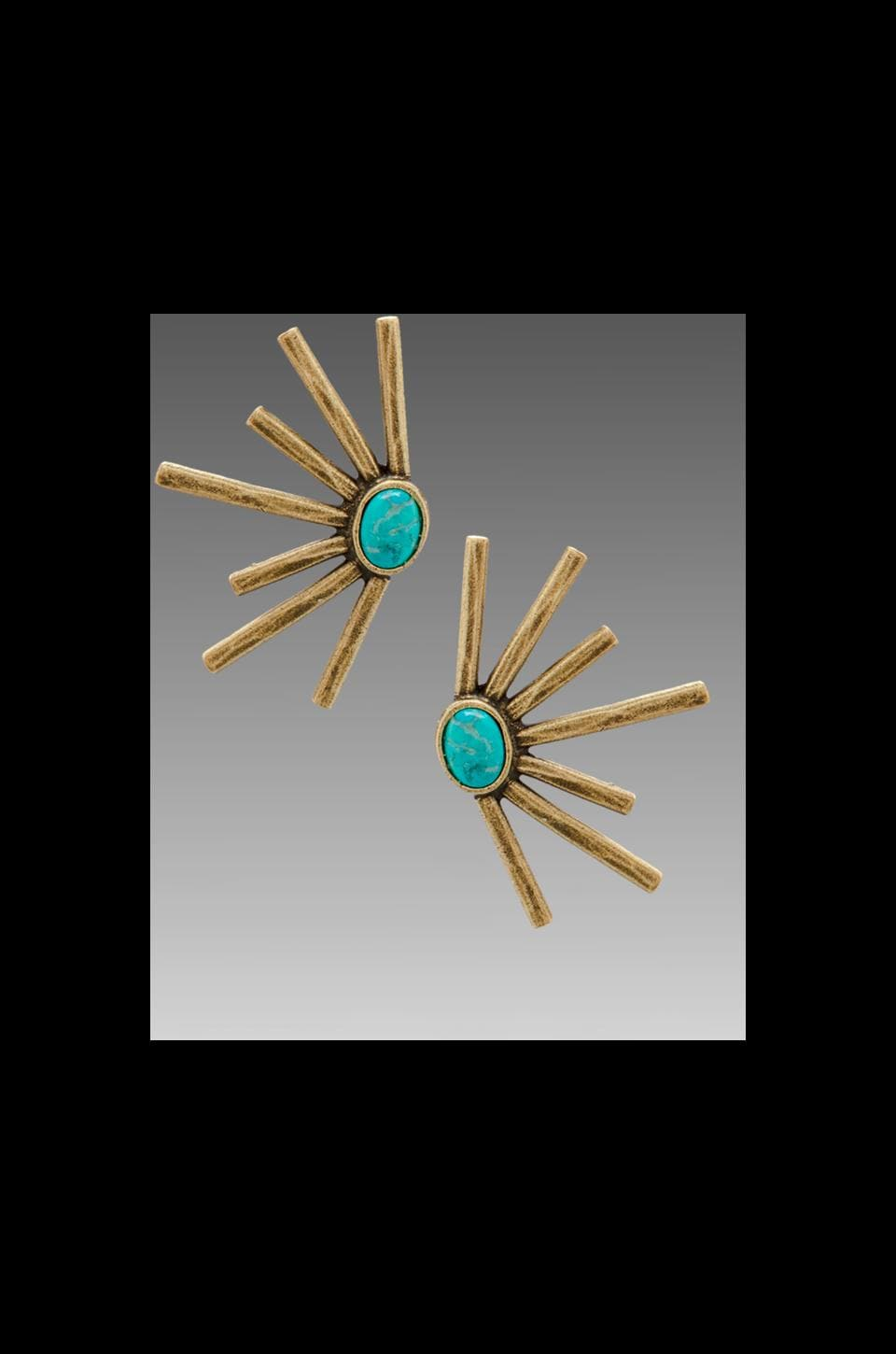 2 Bandits Sunshine Daydream Earrings in Antique Brass/Blue Turquoise