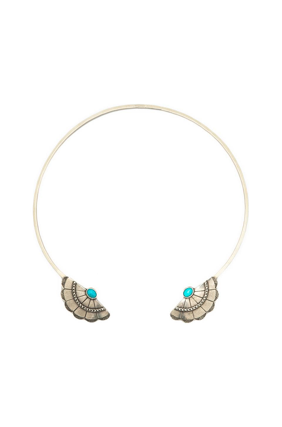 2 Bandits Concho Wing Necklace in Antique Silver/Blue Turquoise