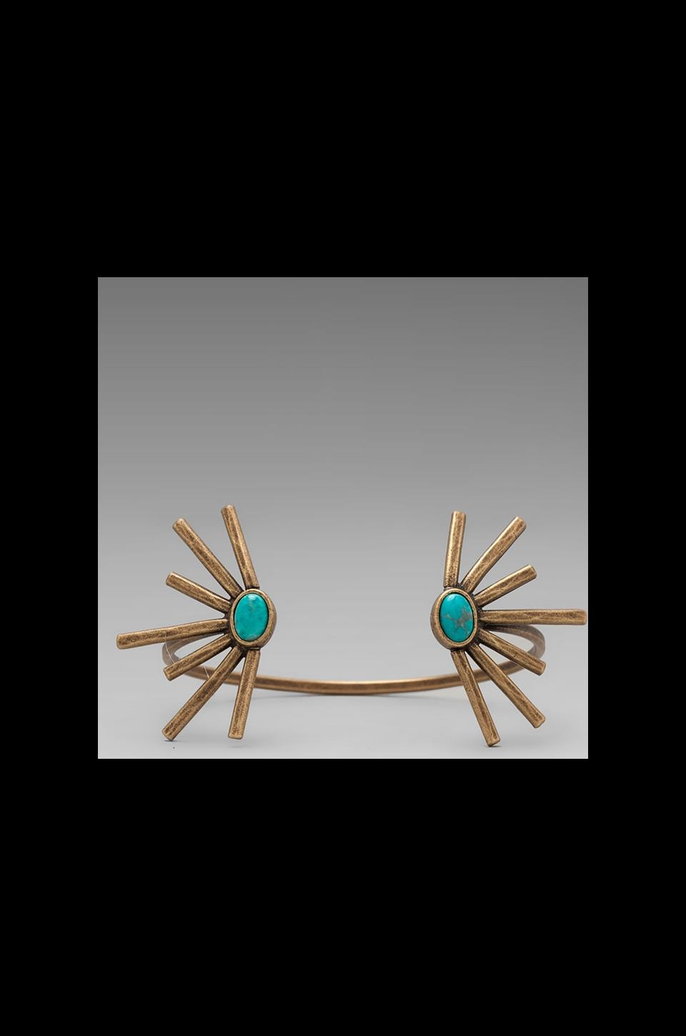 2 Bandits Sunshine Daydream Open Cuff Bracelet in Antique Brass/Turquoise