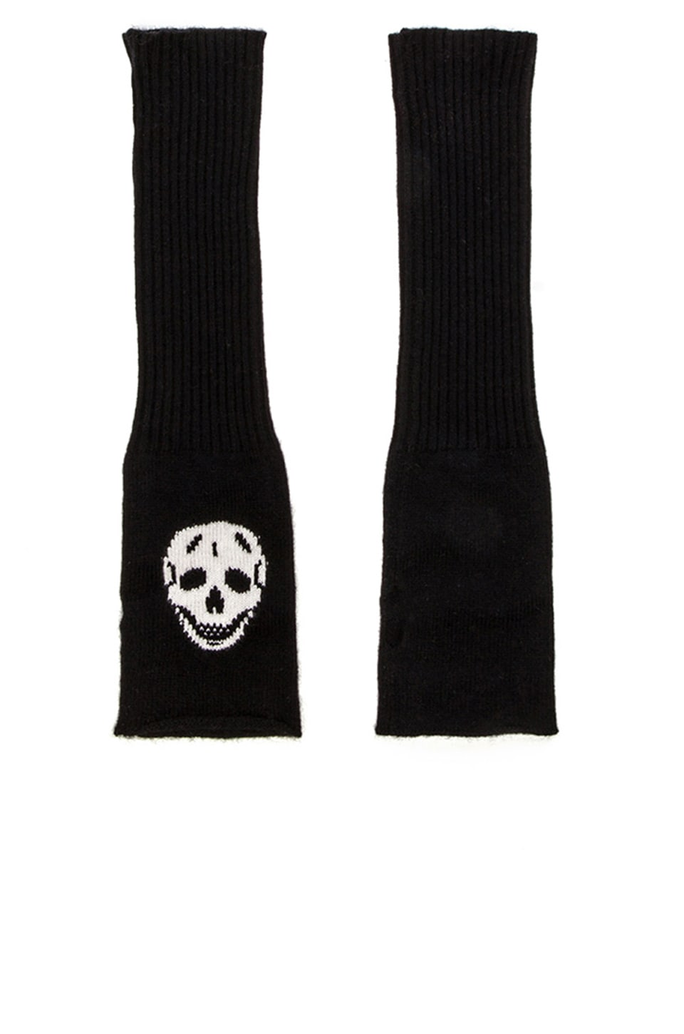 360CASHMERE Luther Arm Glove in Ivory & Black