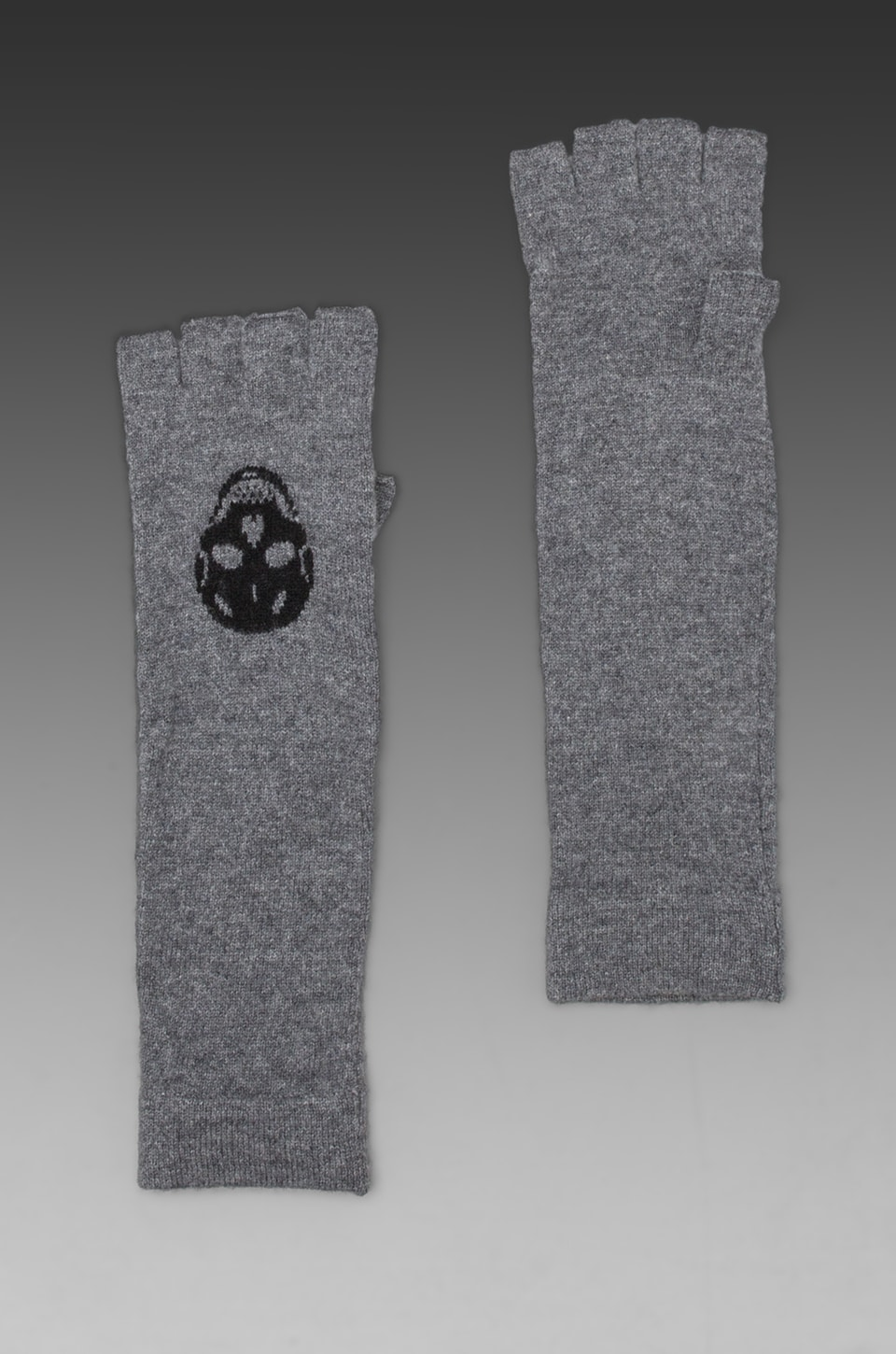 360CASHMERE Luther Skull Cashmere Glove in Heather Grey/Black
