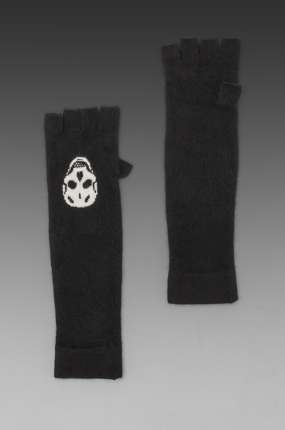 360 Sweater Luther Skull Cashmere Glove in Black/Chalk