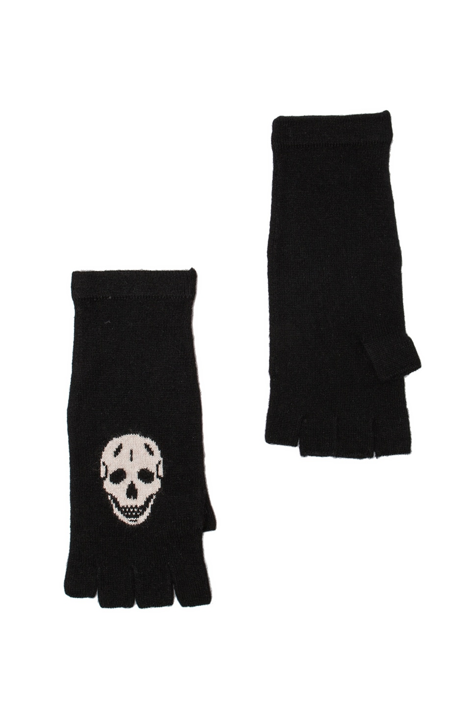 360 Sweater Skull Cashmere REVOLVE Exclusive Skull Glove in Black & Bone