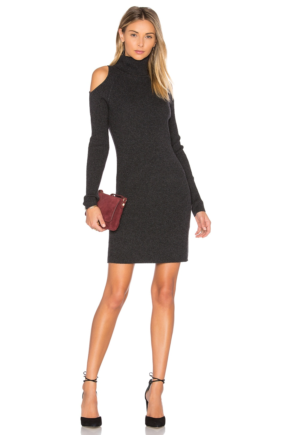 360CASHMERE Ivana Cold Shoulder Sweater Dress in Cinder