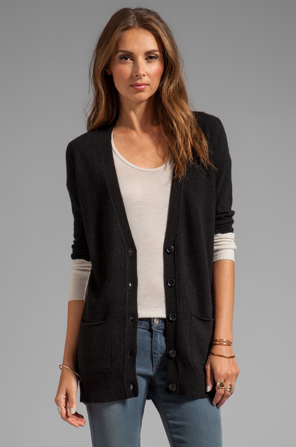 360 Sweater Shana Cashmere Cardigan in Black/Chalk