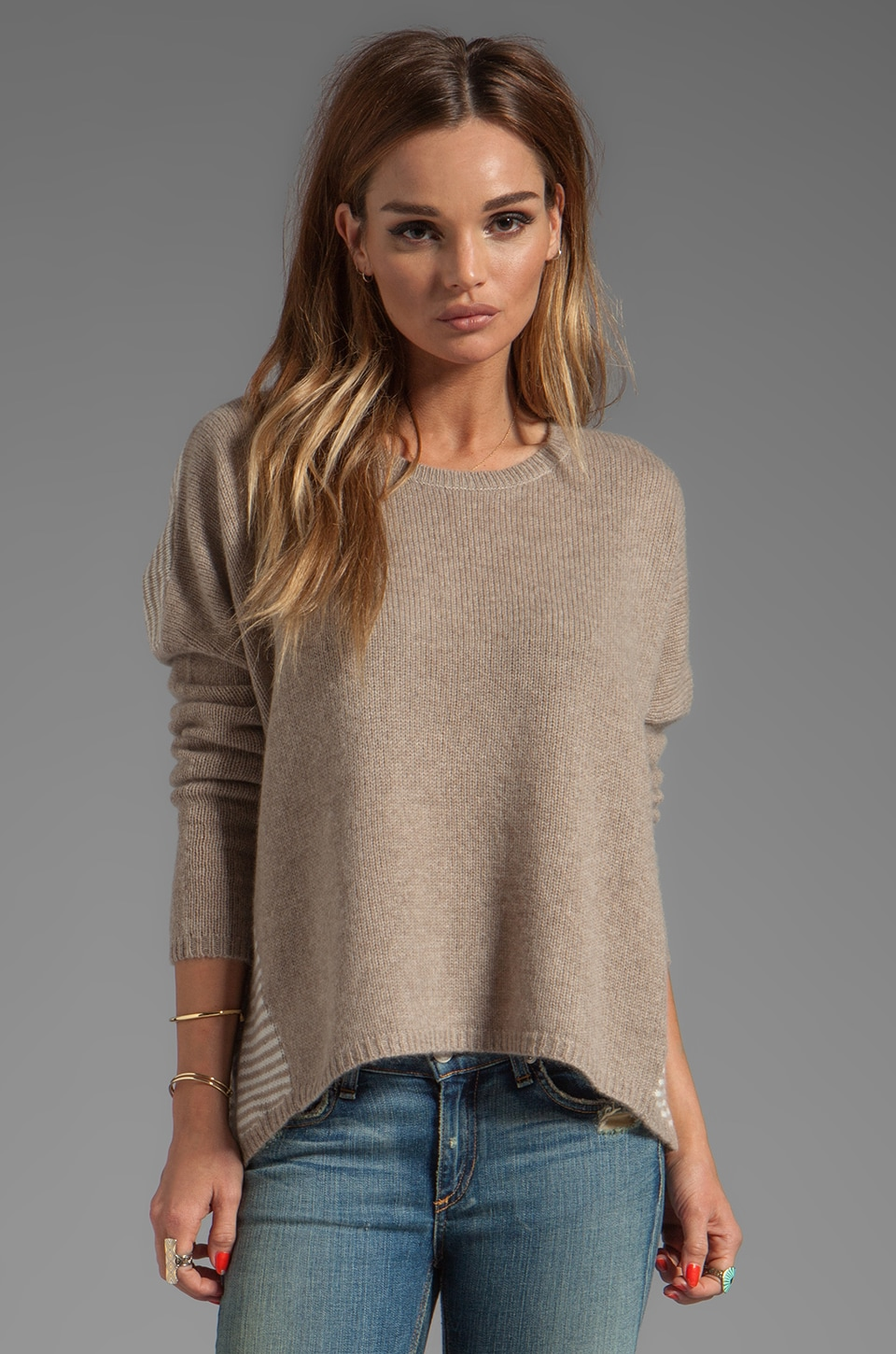 360 Sweater Corrine Cashmere Pullover in Heather Camel/Chalk