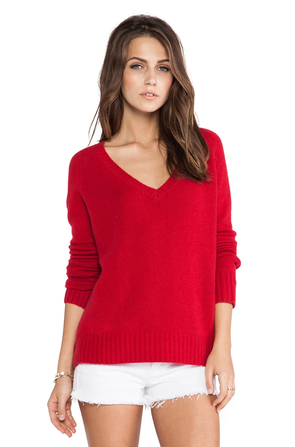 360 Sweater Luci Cashmere Sweater in Ruby
