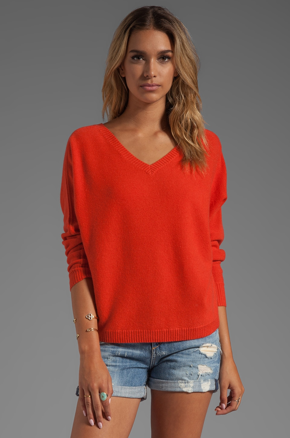 360 Sweater Julietta Cashmere Sweater in Blood Orange