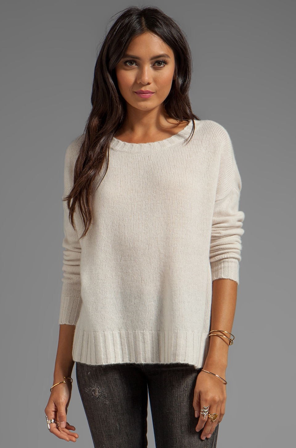 360 Sweater Edie Cashmere Pullover in Chalk