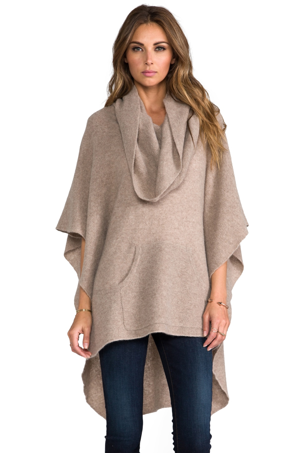 360 Sweater Laurel Cashmere Poncho in Heather Camel
