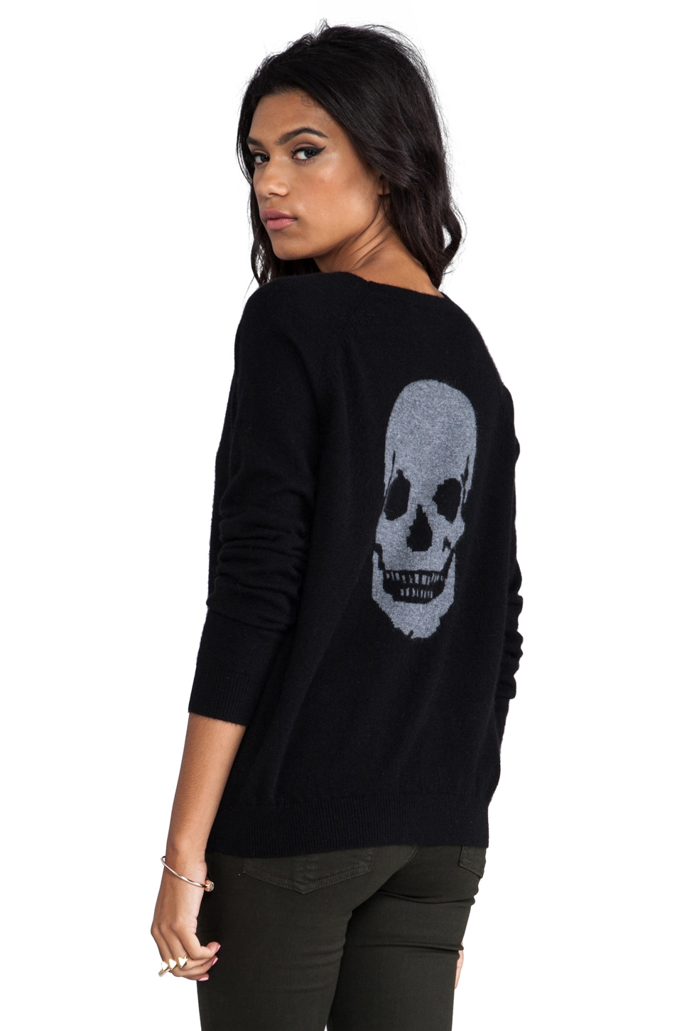 360 Sweater Luther Skull Cashmere Pullover in Black/Heather Grey