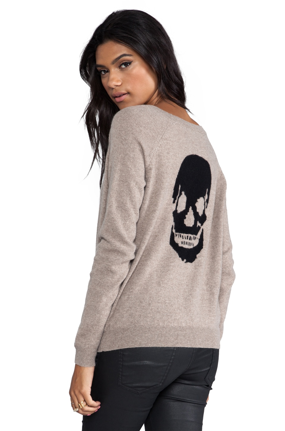360 Sweater Luther Skull Cashmere Pullover in Heather Camel/Black