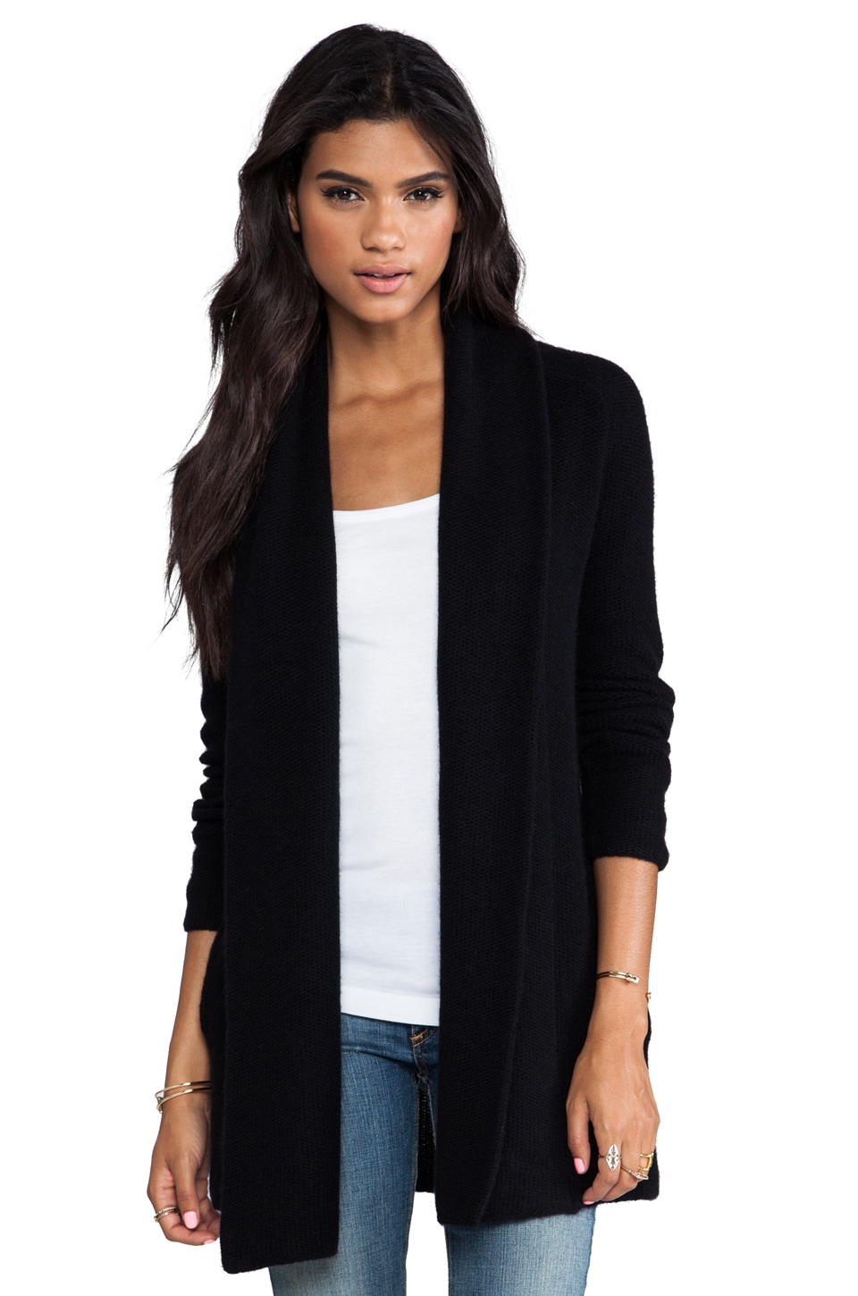 360CASHMERE Aries Wool Cashmere Cardigan in Black