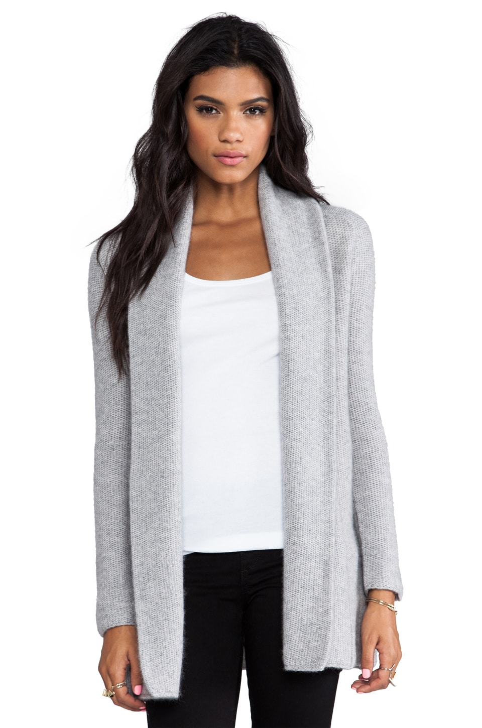 360 Sweater Aries Wool Cashmere Cardigan in Heather Grey