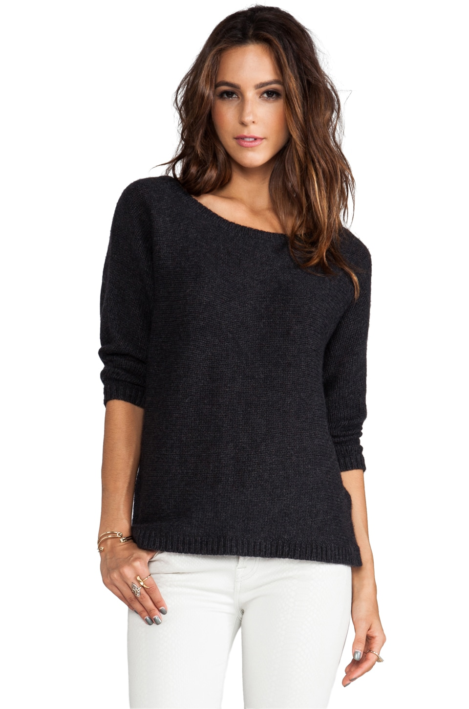 360CASHMERE Randi Star Pullover in Charcoal/Ivory