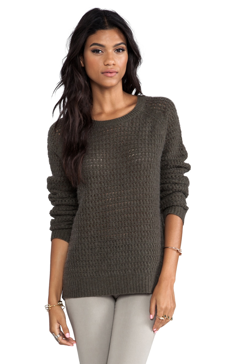 360 Sweater Laria Wool Cashmere Pullover in Olive