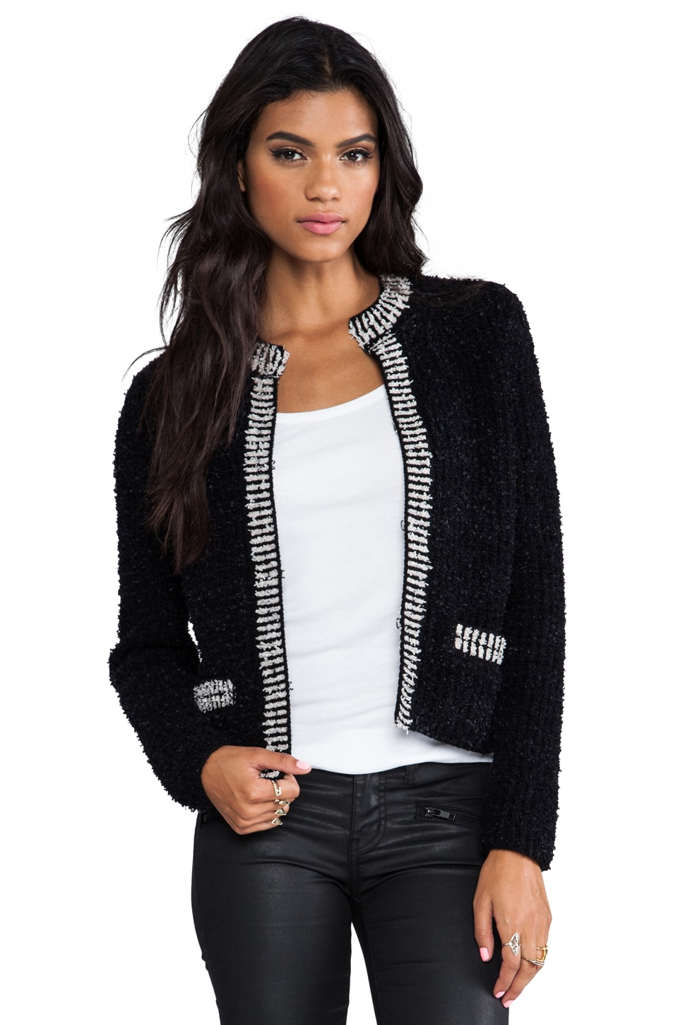 360 Sweater Rae Eyelash Yarn Cardigan in White/Black