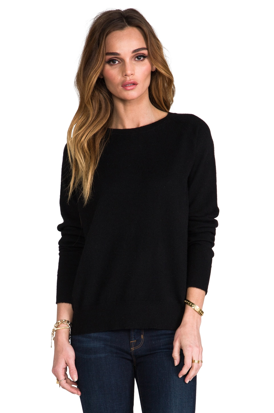 360 Sweater Harper Cashmere Sweater in Black