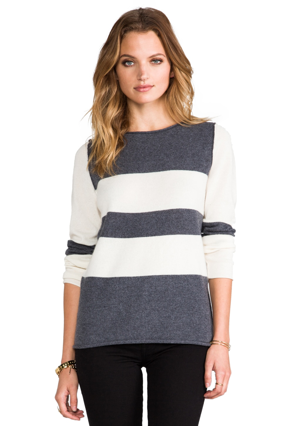 360 Sweater True Cashmere Sweater in Powder Gunmetal/Ivory