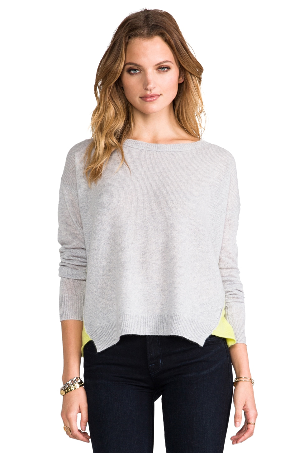 360 Sweater Devon Cashmere Sweater in Powder Grey/Citron