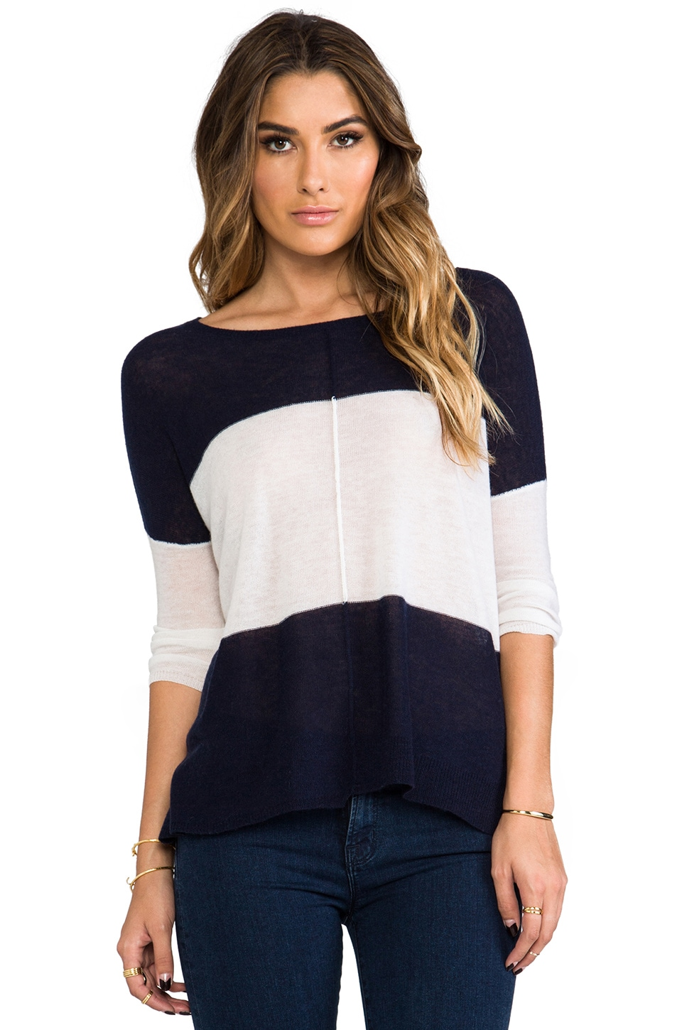 360CASHMERE Venus Cashmere Sweater in Navy & White