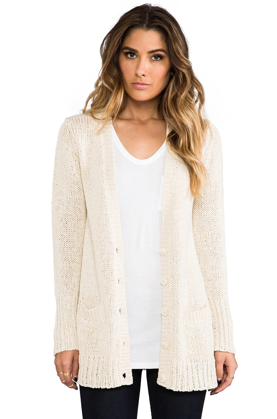 360 Sweater Daphne Cardigan in Natural