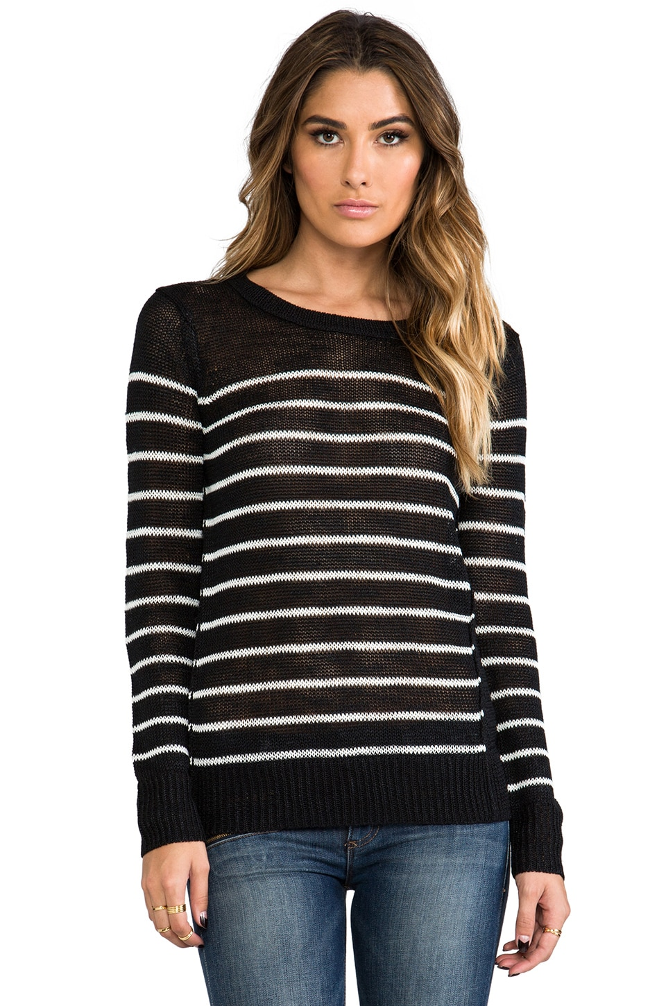 360 Sweater Evie Stripe Sweater in Black & White