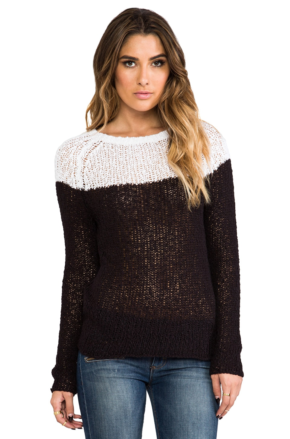 360 Sweater Ellie Colorblock Sweater in White & Black