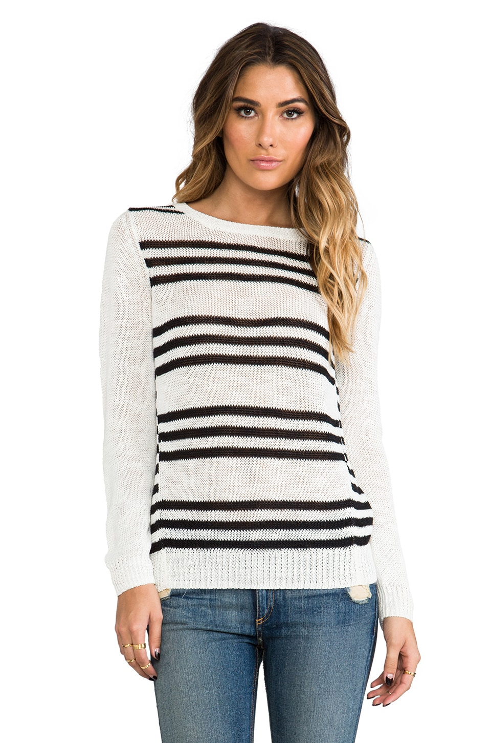 360 Sweater Astra Stripe Sweater in White & Black