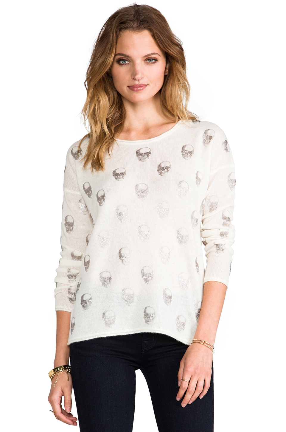 360CASHMERE Skull Cashmere Jack Foil Crew Neck Sweater in Ivory & Silver