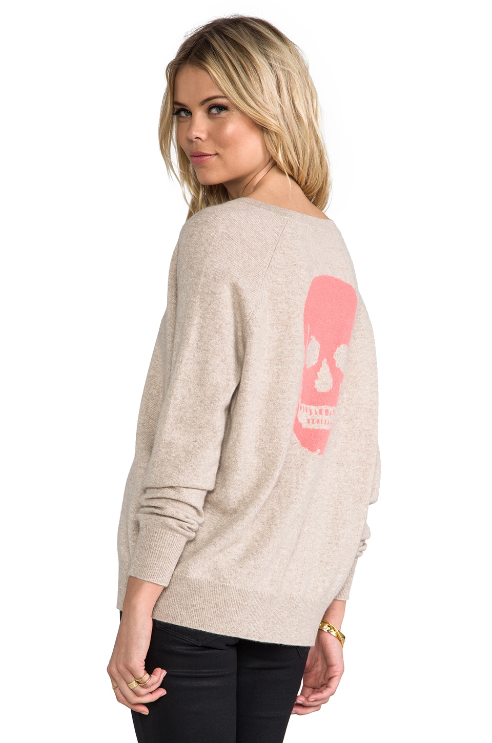 360 Sweater Luther Skull Sweater in Oatmeal & Salmon