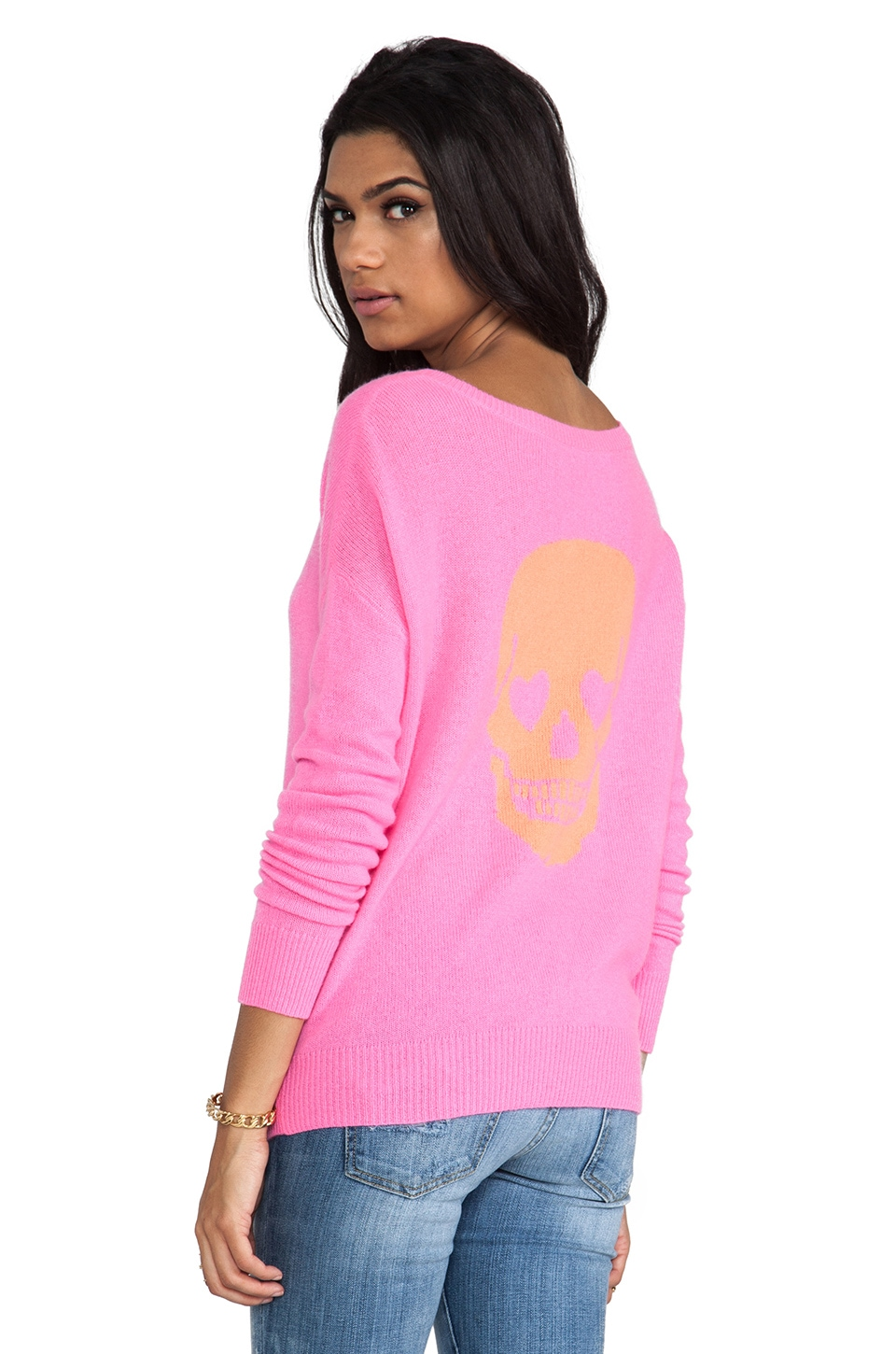 360 Sweater Lovey Cashmere Sweater in Electric Pink & Tangerine Intarsia