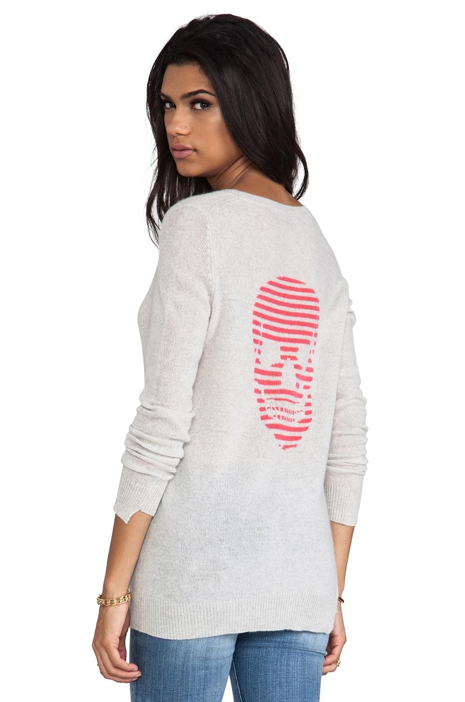 360CASHMERE Stripey Cashmere Sweater in Dove/Rosita Intarsia
