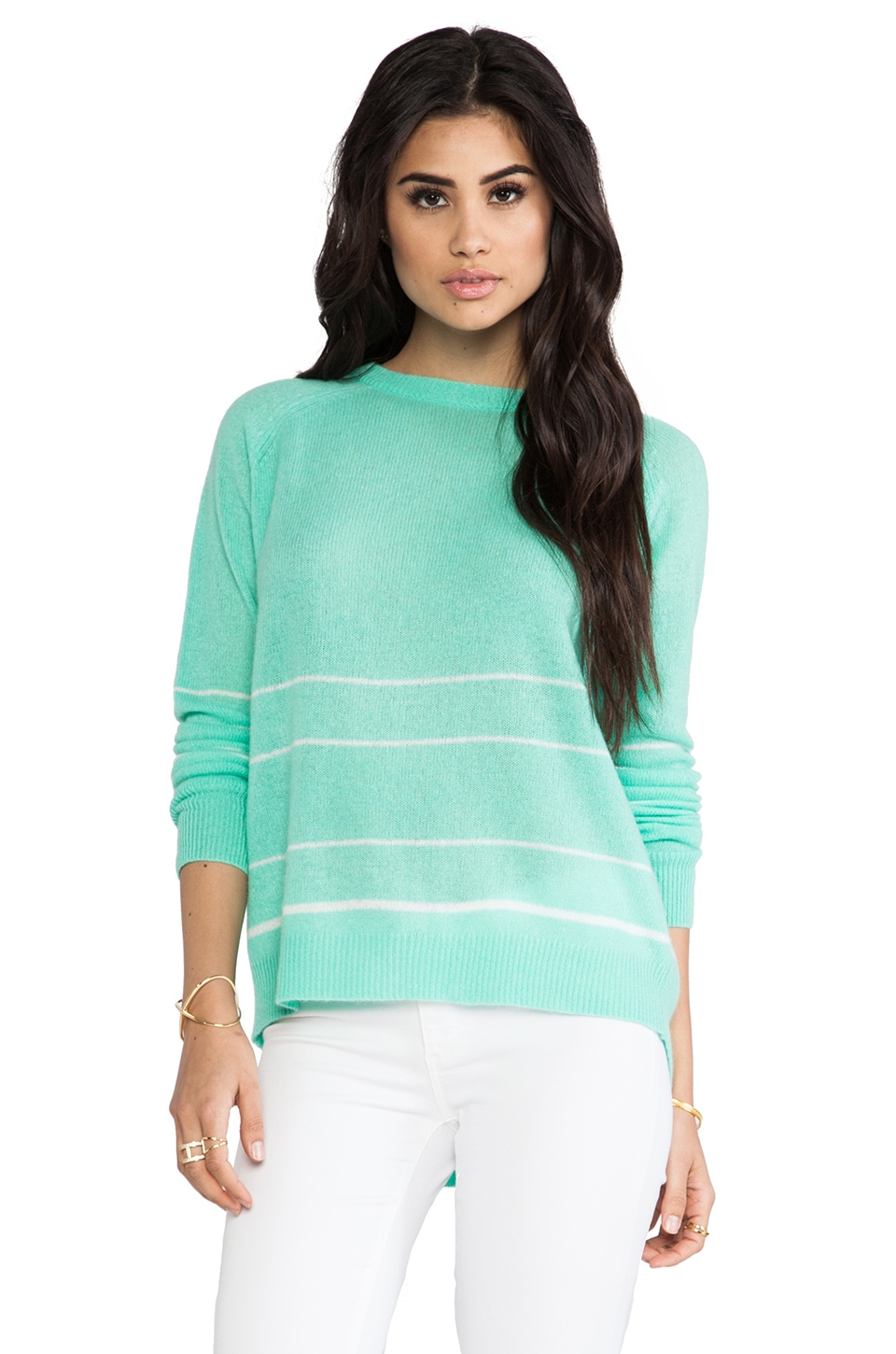 360 Sweater Gia Cashmere Stripe Sweater in Lagoon & Ivory Stripe
