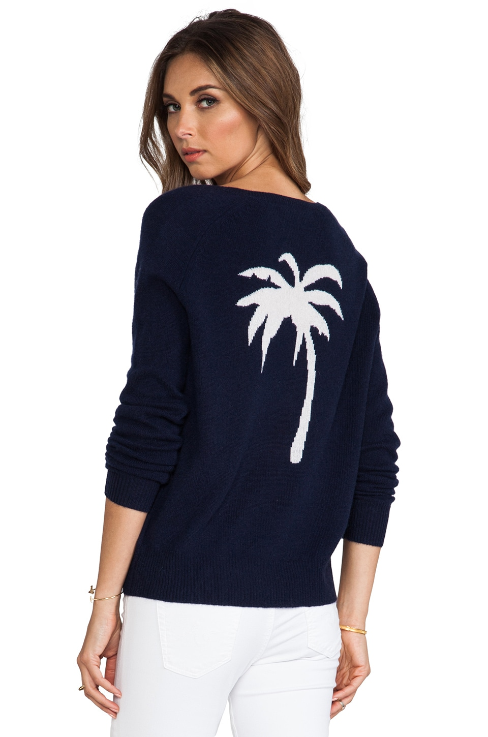 360 Sweater Palm Cashmere Sweater in Navy & Ivory Intarsia