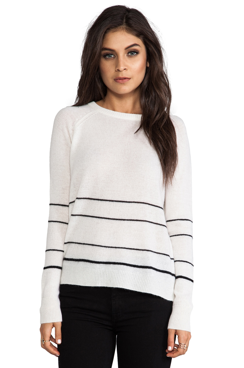 360 Sweater Gia Cashmere Stripe Sweater in Ivory & Black Stripe