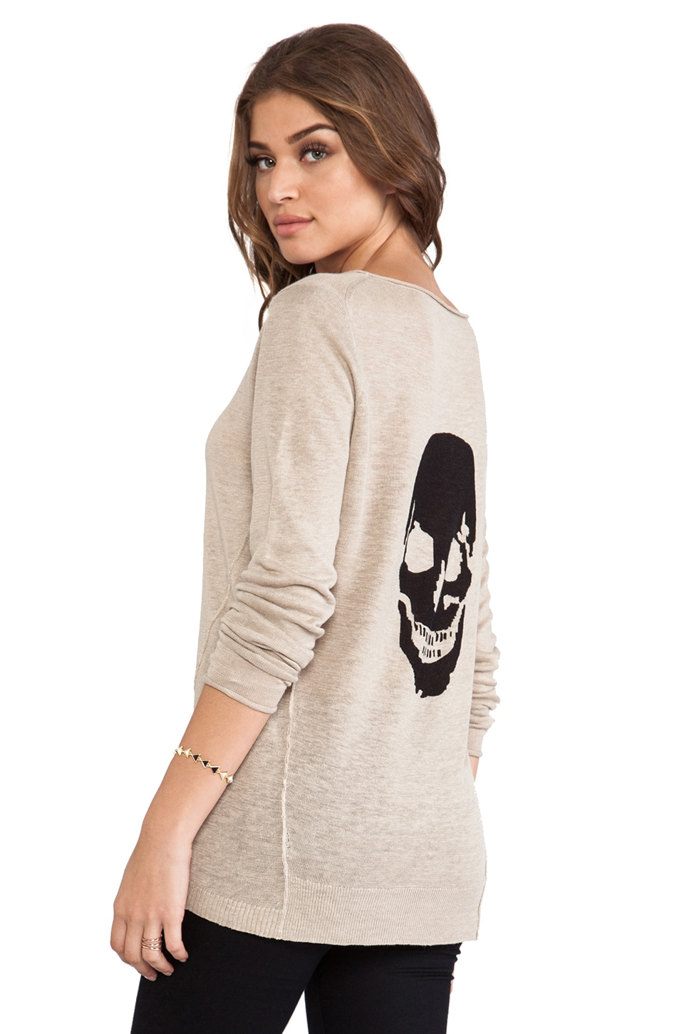 360CASHMERE Big Luther Sweater in Stone & Black Skull Print