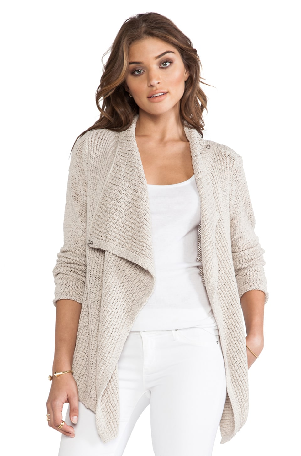 360 Sweater Hayden Wrap Sweater in Plaster