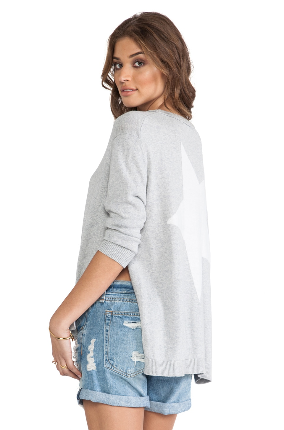 360CASHMERE Celeste Star Sweater in Heather Grey & Ivory Star