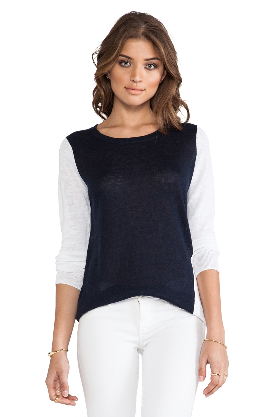 360 Sweater Shay Colorblock Sweater in Navy & White