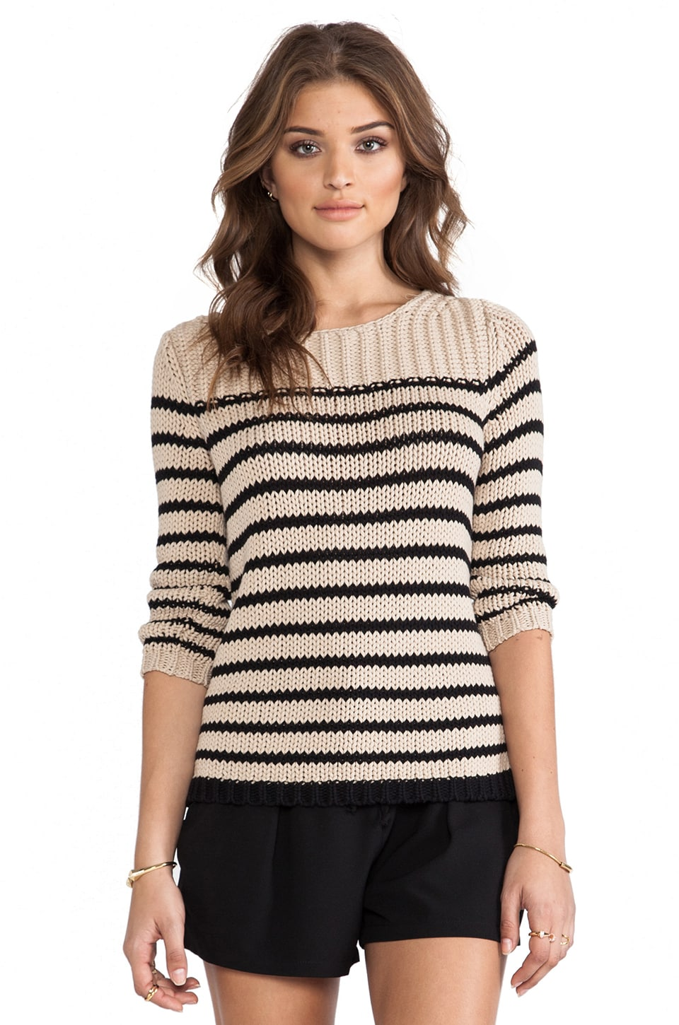 360 Sweater Darby Striped Sweater in Clay & Black Stripes