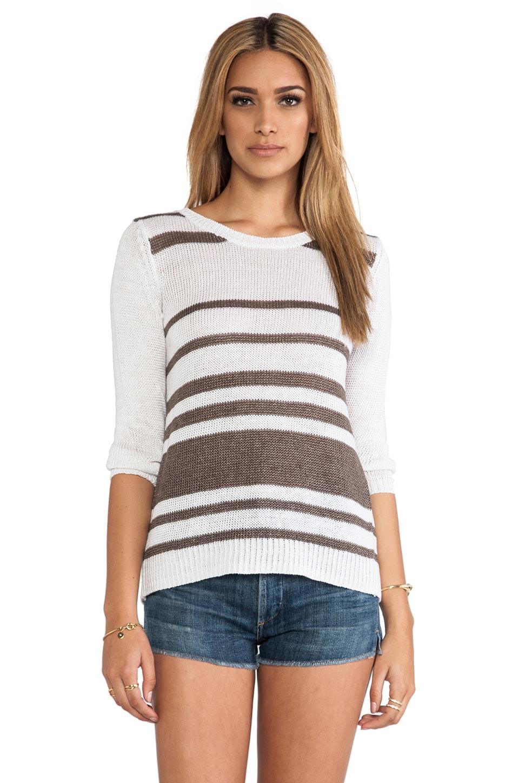 360CASHMERE Jagger Sweater in White & Cocoa Stripes