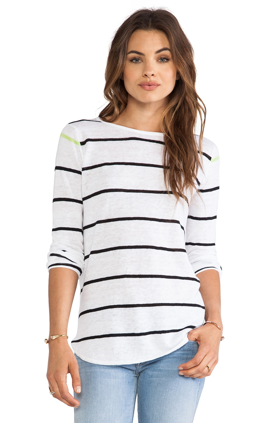 360 Sweater Shy Striped Sweater in White & Black