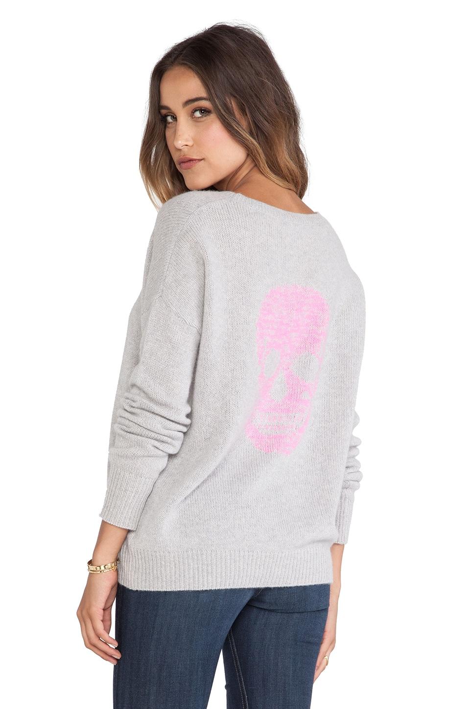 360CASHMERE Dagmar Sweater in Powder Grey & Electric Pink